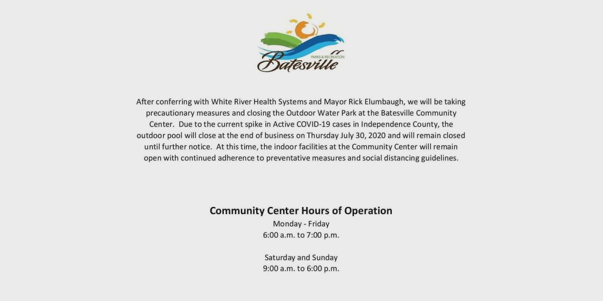 Batesville Outdoor Water Park closed until further notice