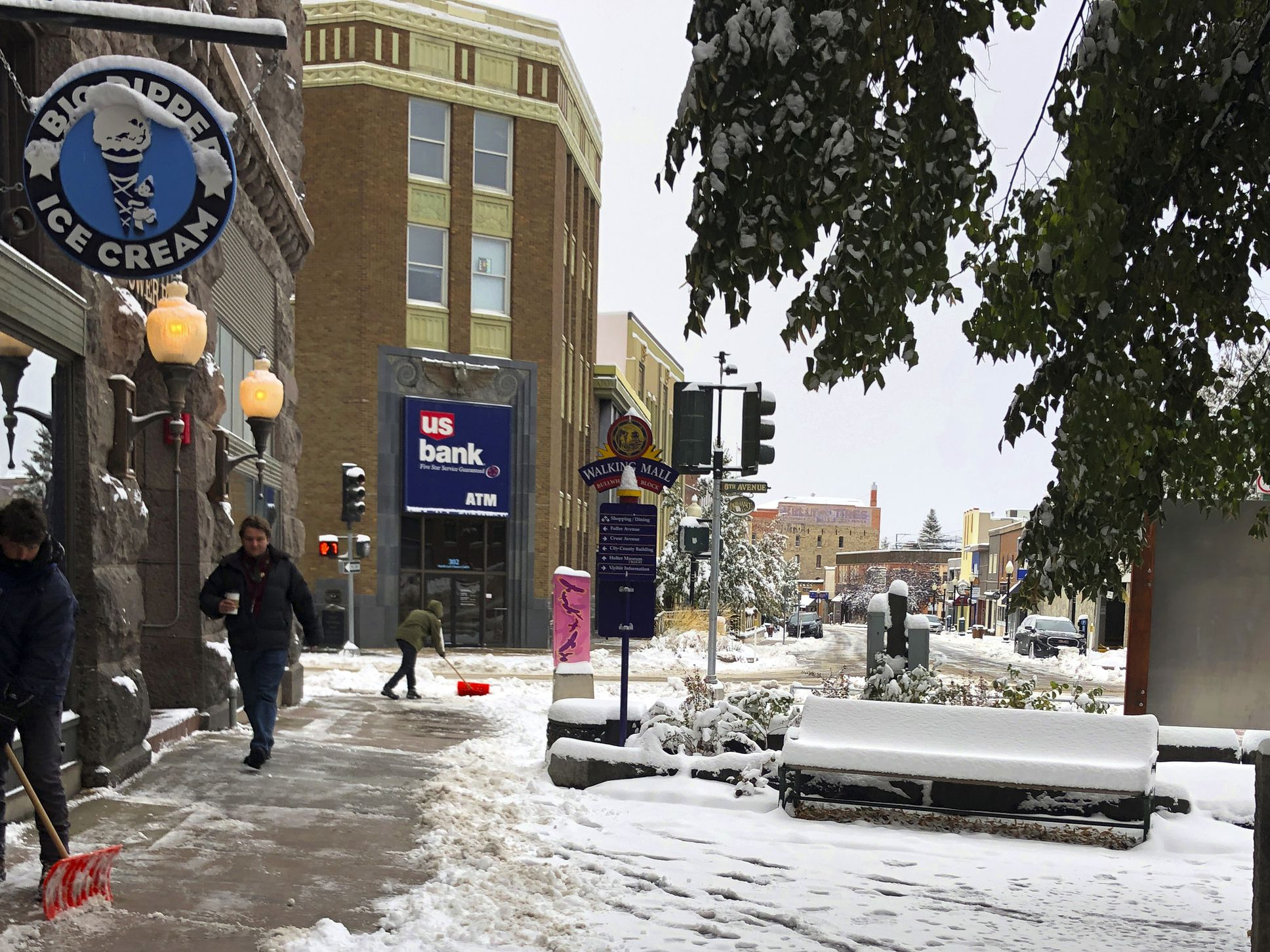 Season greeting: Fall snowstorm pushing through Great Plains