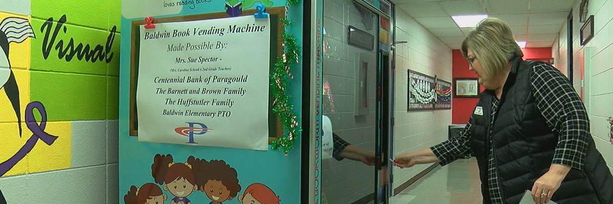 A vending machine only takes golden coins; school works to encourage reading