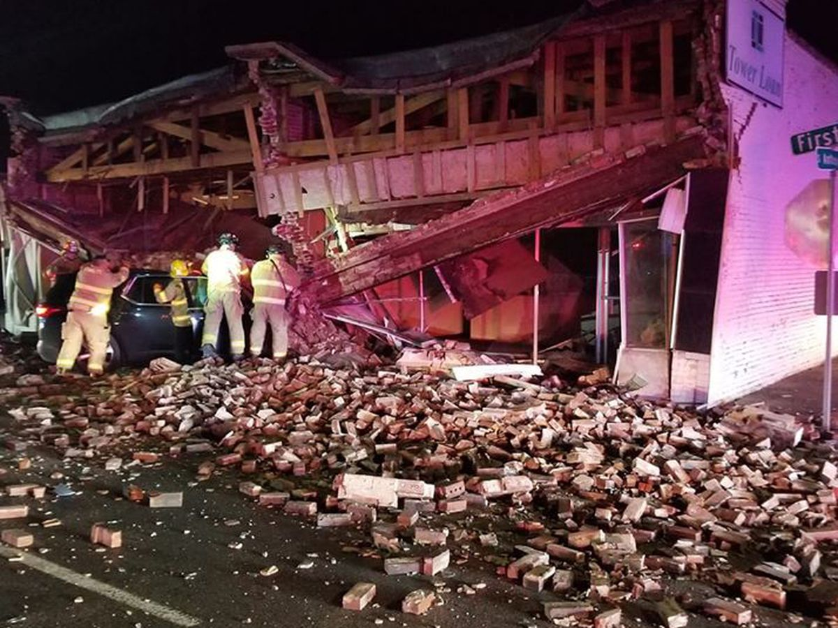 Roads closed after car crashes into building in Kennett