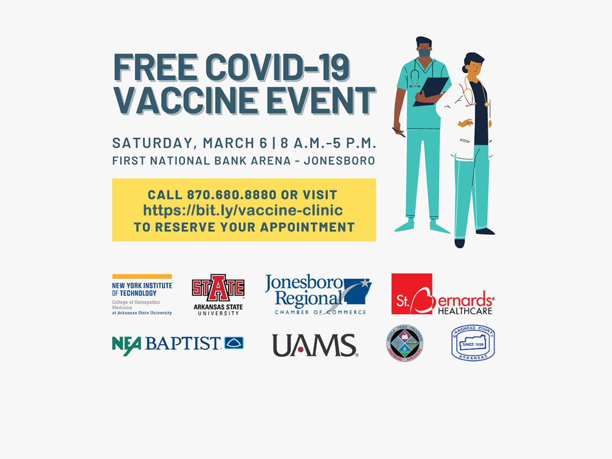 Free COVID-19 vaccine clinic set for March 6