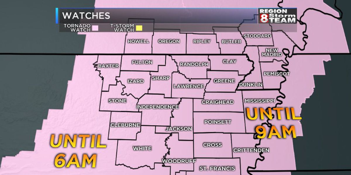 Tornado Watch issued for all of Region 8