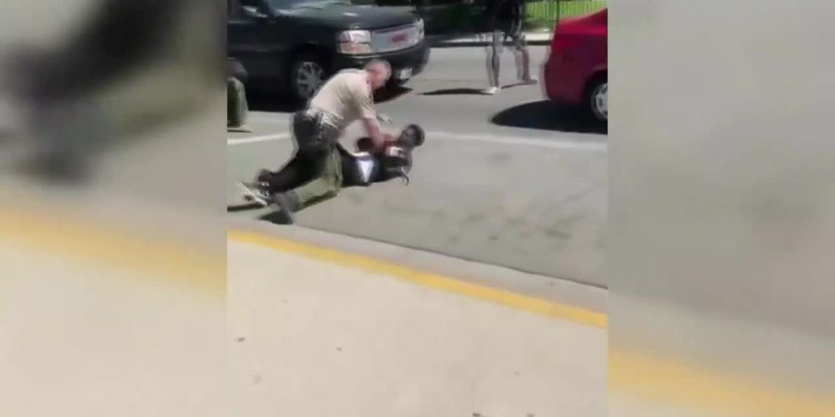 Student tackles police officer outside school in CA