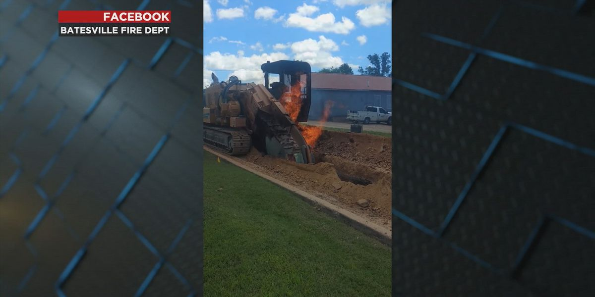 Crews battle fire after trencher cuts gas line