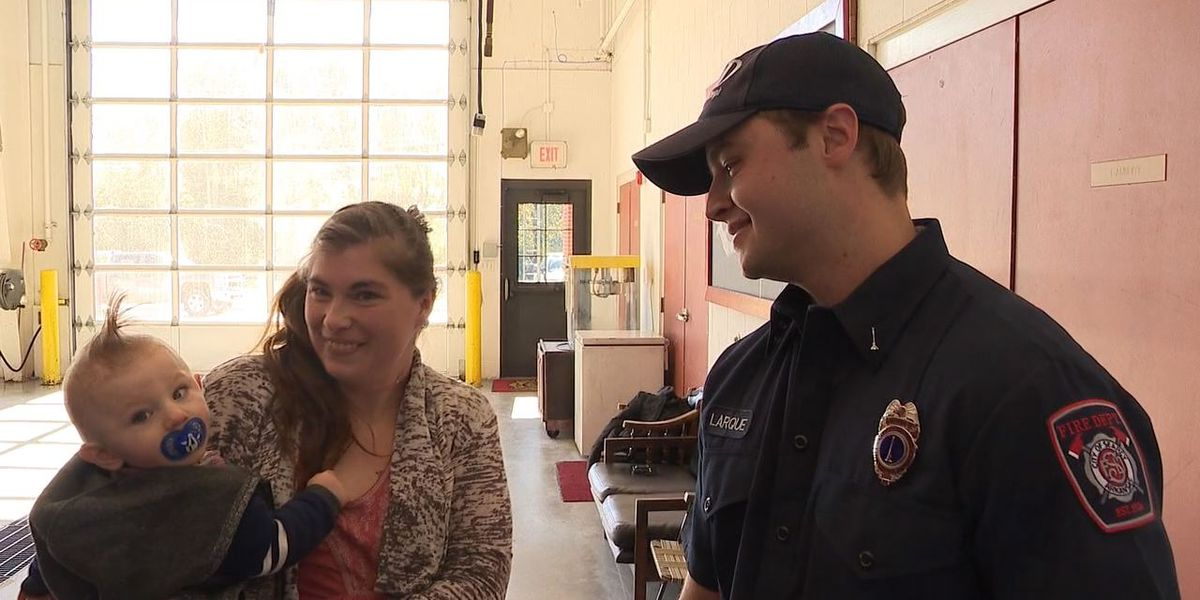 Family thanks firefighters for saving toddler