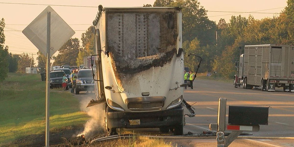 Crews respond to semi on fire