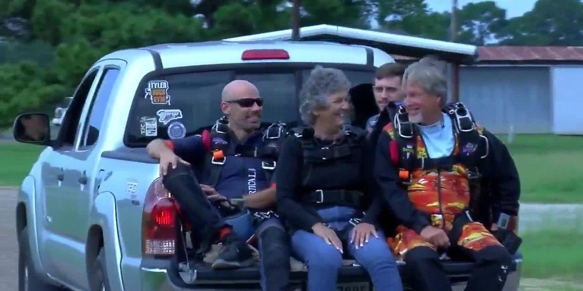 Two-time cancer survivor skydives at 75