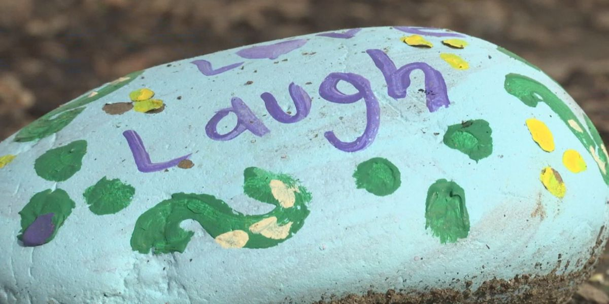 Second-grader decorates rocks to encourage classmates
