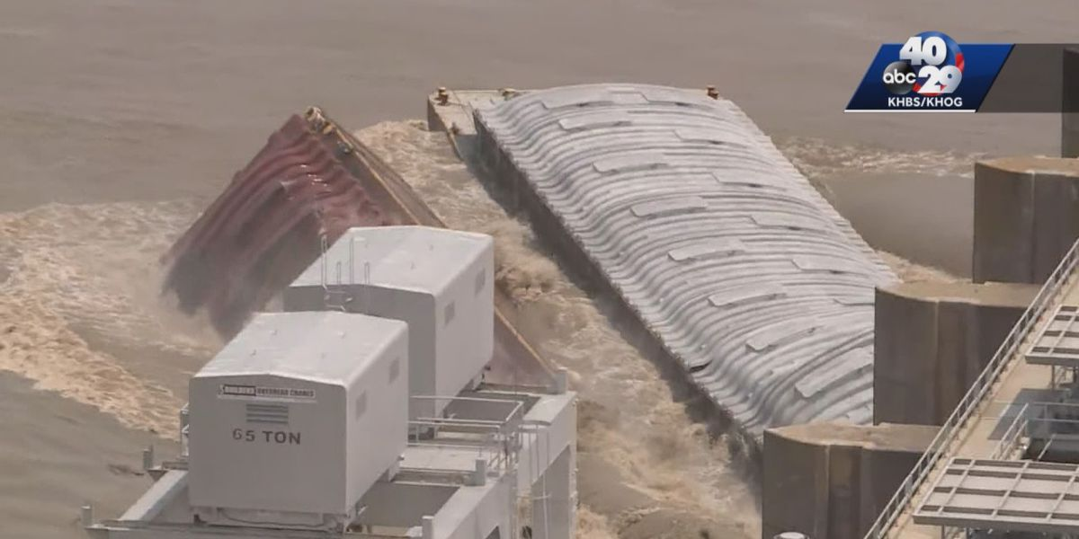 Barges smash into dam upstream from Oklahoma town