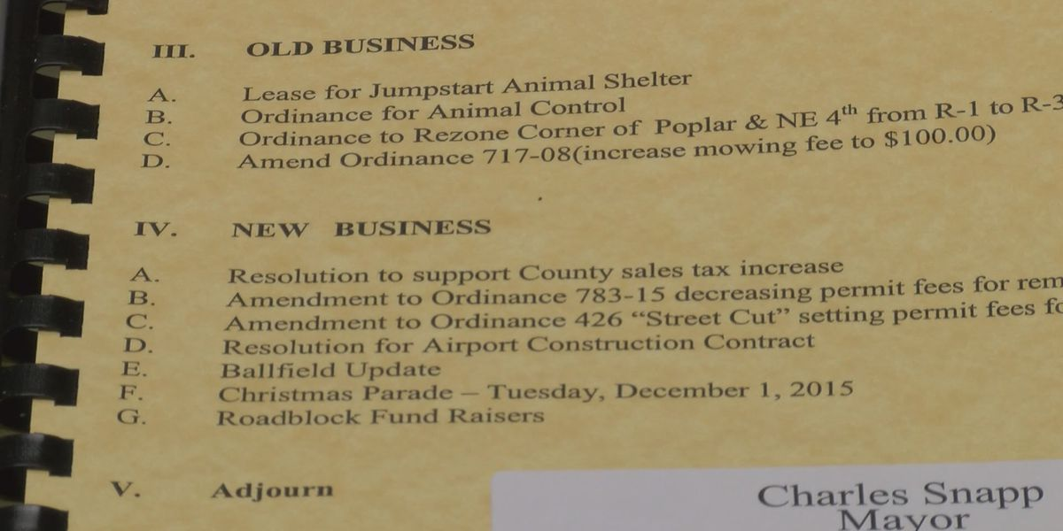 Walnut Ridge City Council to discuss support of county tax increase