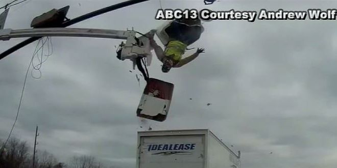 Caught on camera: Houston worker survives flying out of construction bucket hit by truck