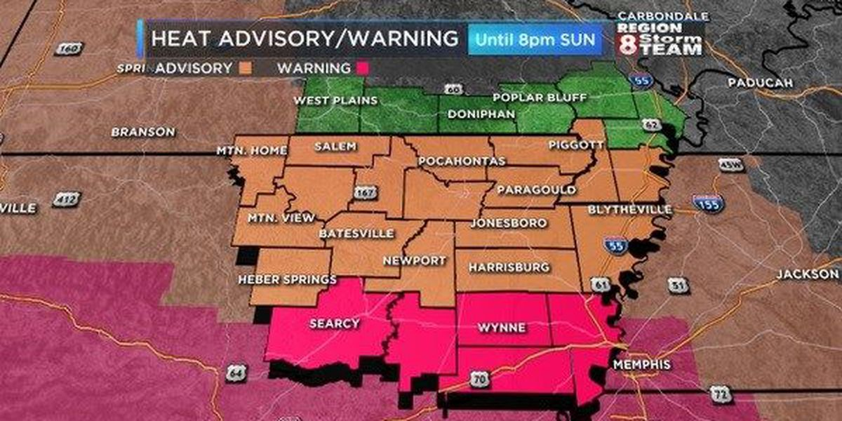 Excessive heat warnings issued from Oklahoma to Mississippi