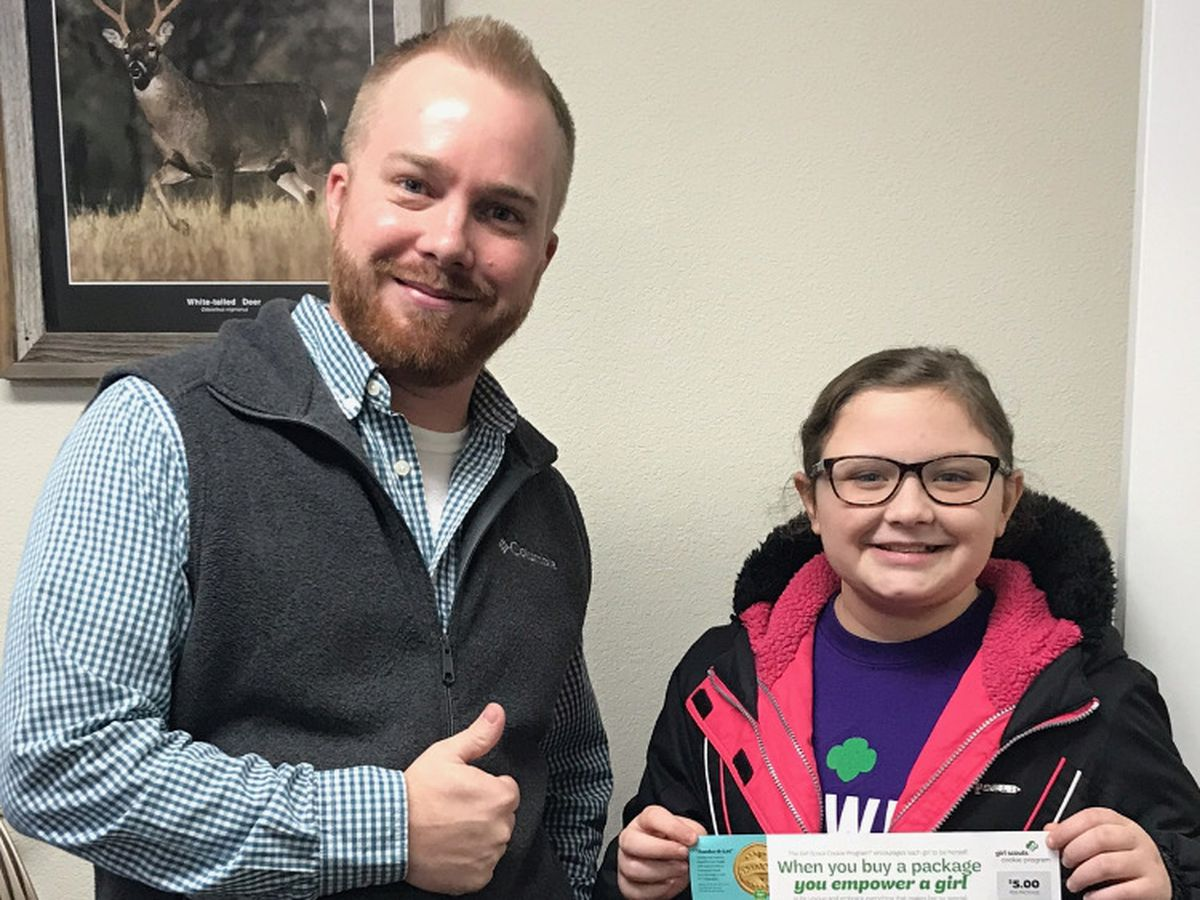 Insurance agent will buy Girl Scout cookies for sales pitches