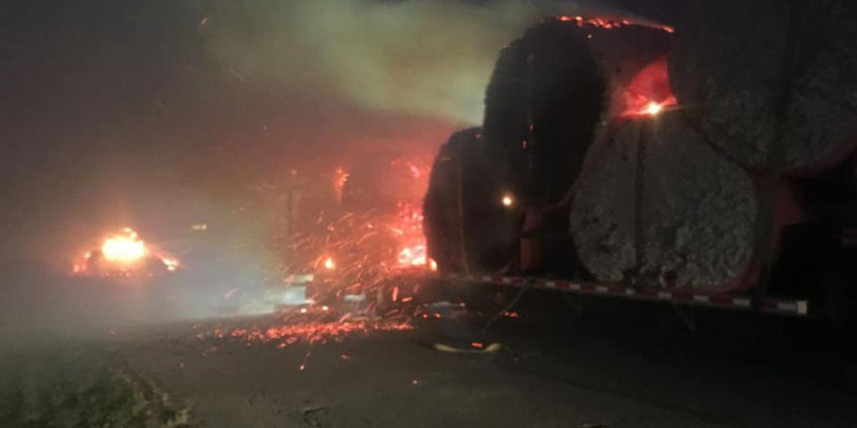 Crews battle cotton bales on fire near Hayti, Mo.