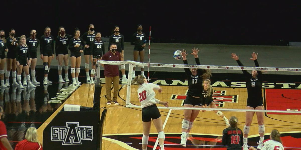 A-State volleyball drops season finale against #13 Texas State