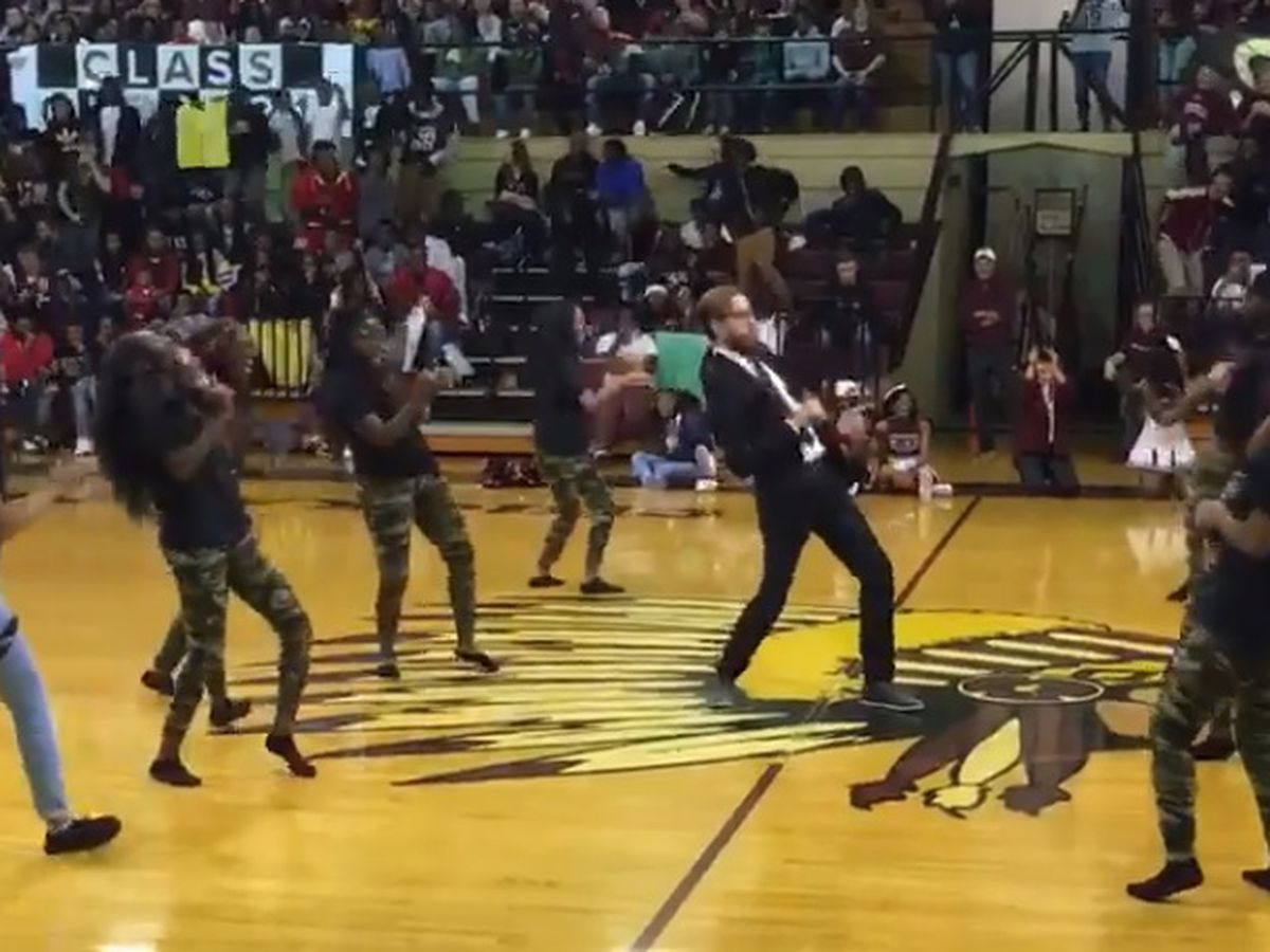 Principal turns up the dance moves at pep rally