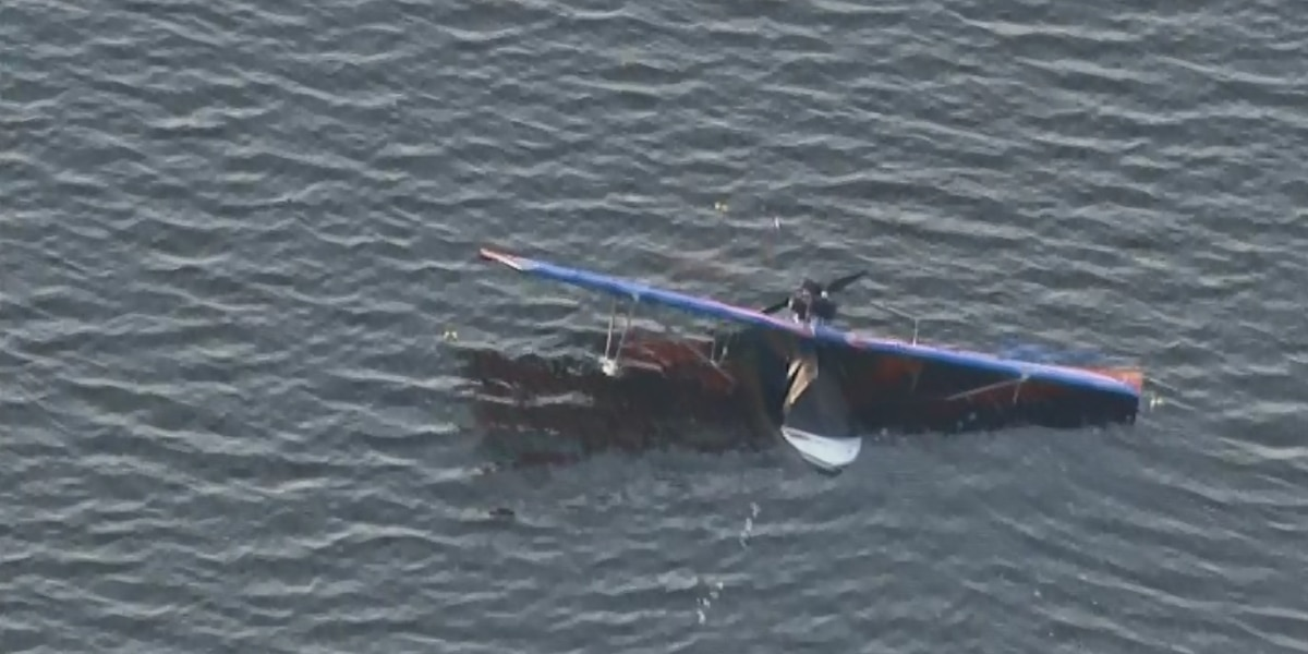 Man calmly swims away after crashing seaplane into lake, gets ride home