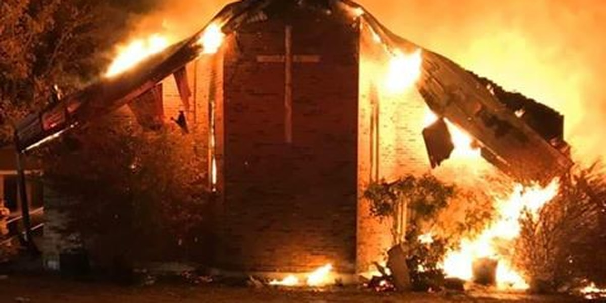 Church destroyed by fire in Fairdealing, Mo.
