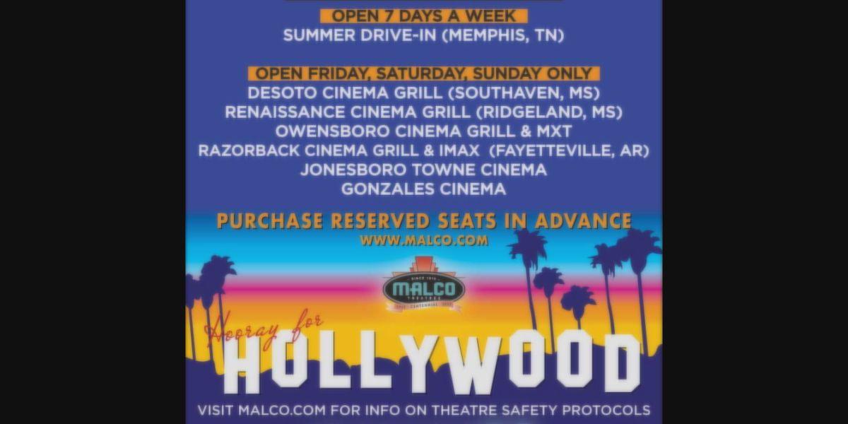 Malco Theatre in Jonesboro open 3 days a week beginning July 3