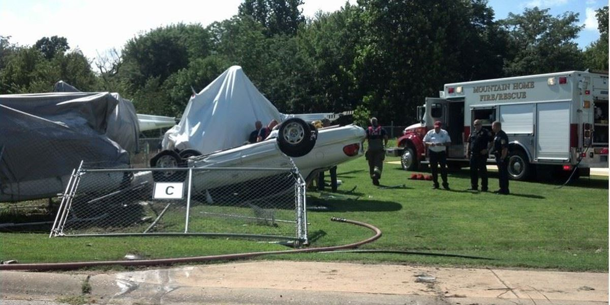 Driver injured after crashing into two helicopters