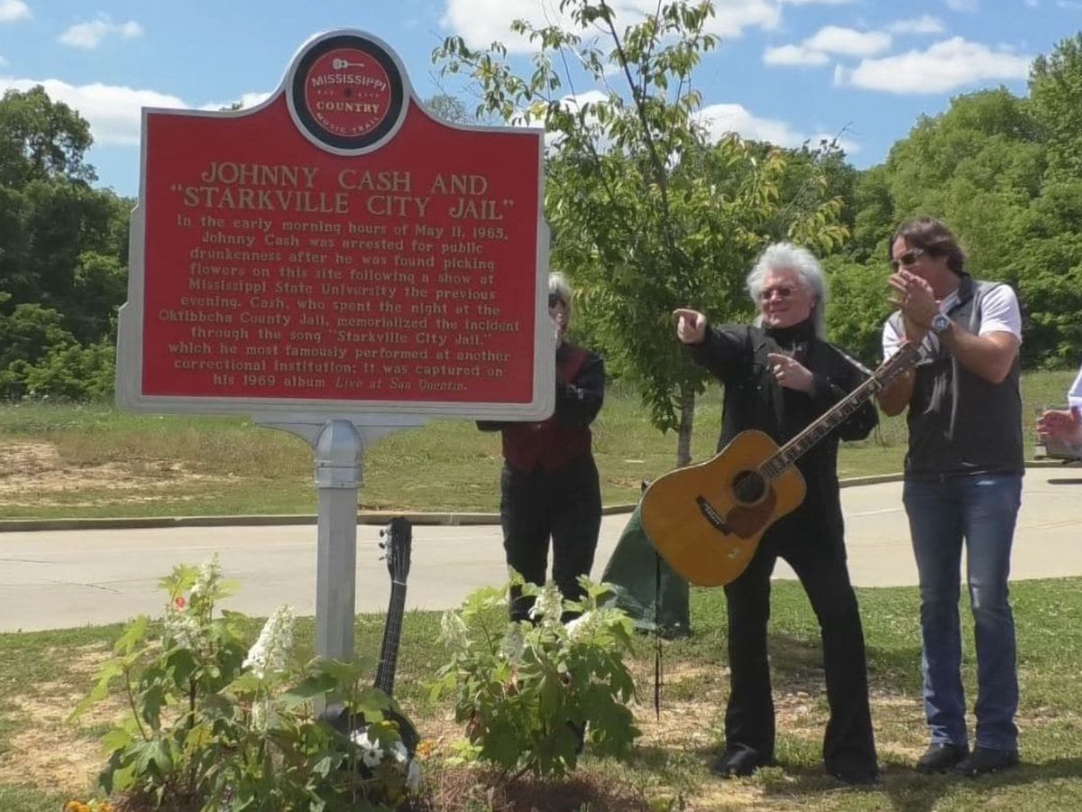 Johnny Cash honored in Starkville with Country Music Trail marker