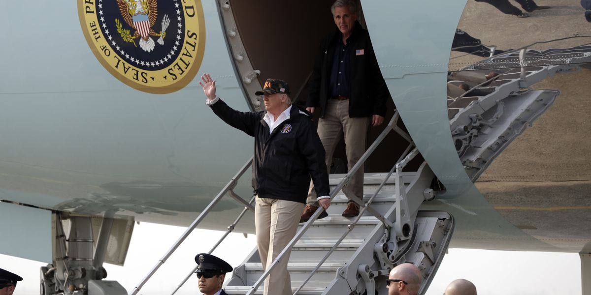 Trump takes helicopter tour of scorched California landscape