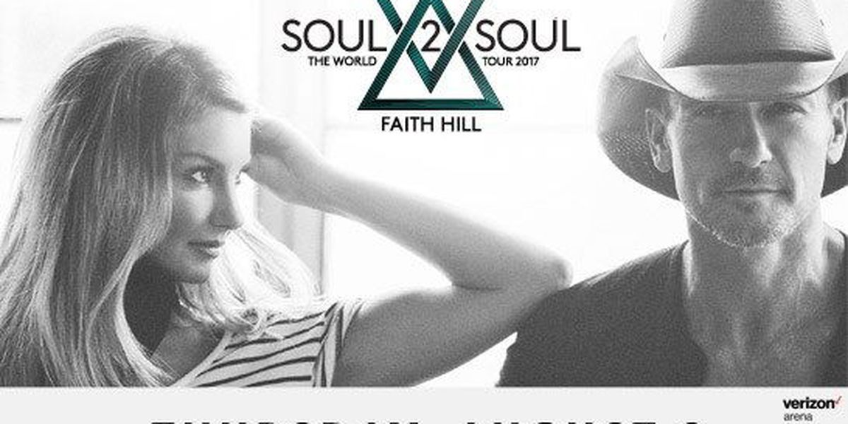 Tim McGraw and Faith Hill coming to Verizon Arena