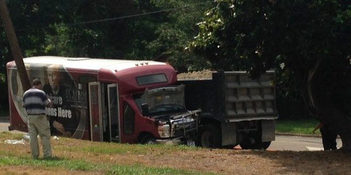 One person severely injured in bus, dump truck, car crash