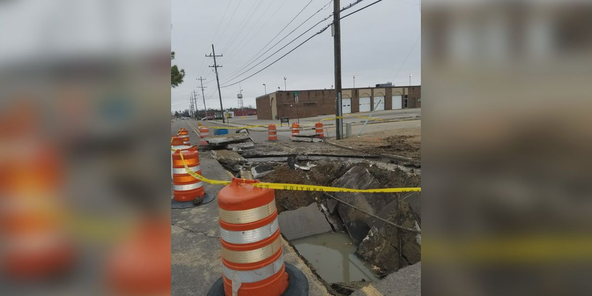 50 foot hole in Blytheville street after sewer collapsed
