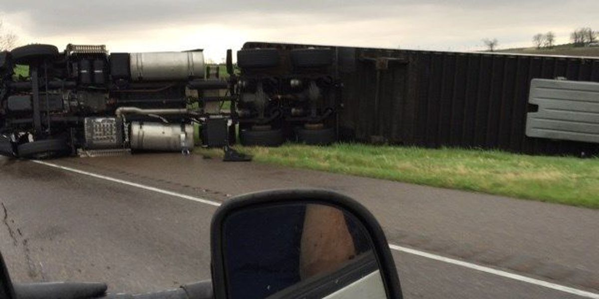 Several semi trucks and vehicles overturned due to strong winds