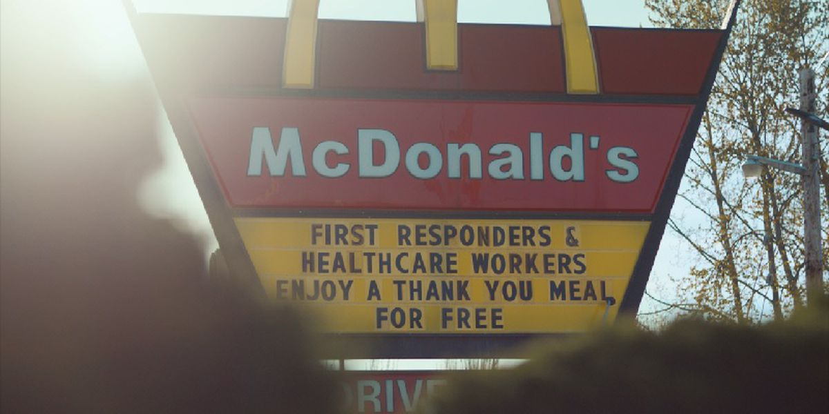 McDonald's serving free meals to healthcare workers, first responders