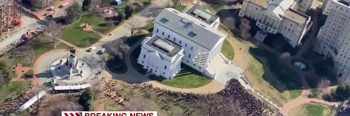 Aerial view of large crowds at state capitol