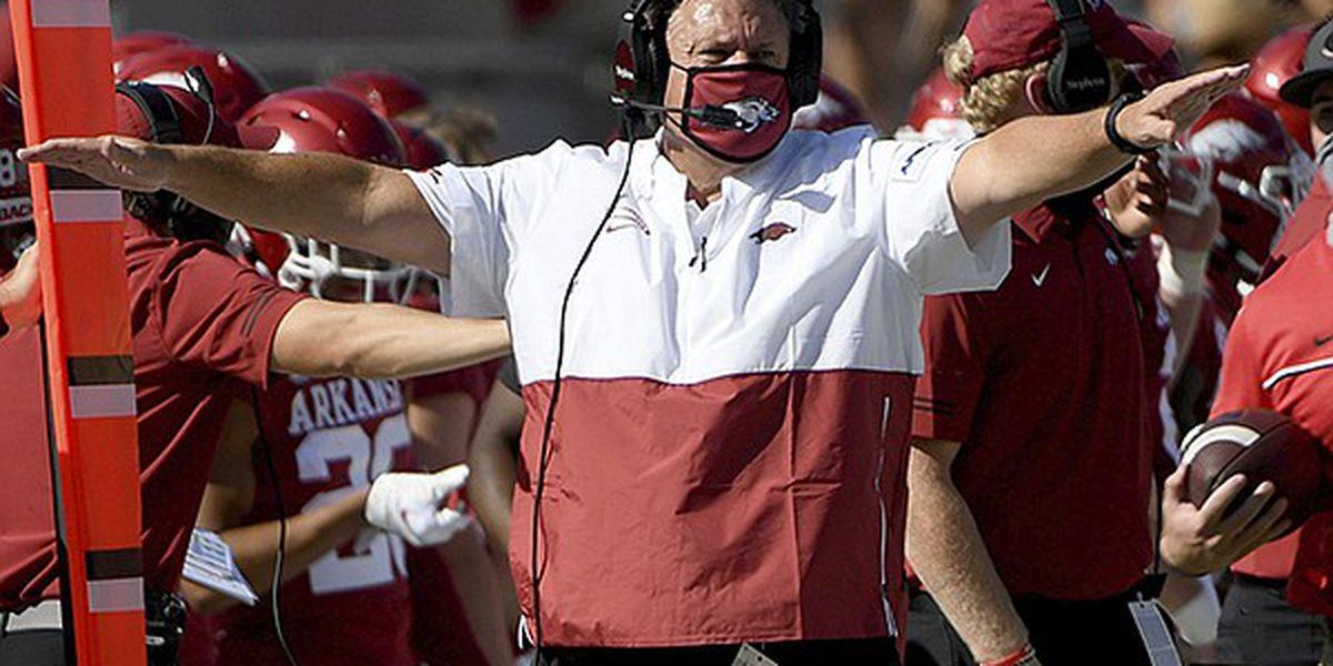 Arkansas announces Sam Pittman tested positive for COVID-19, will not coach Saturday