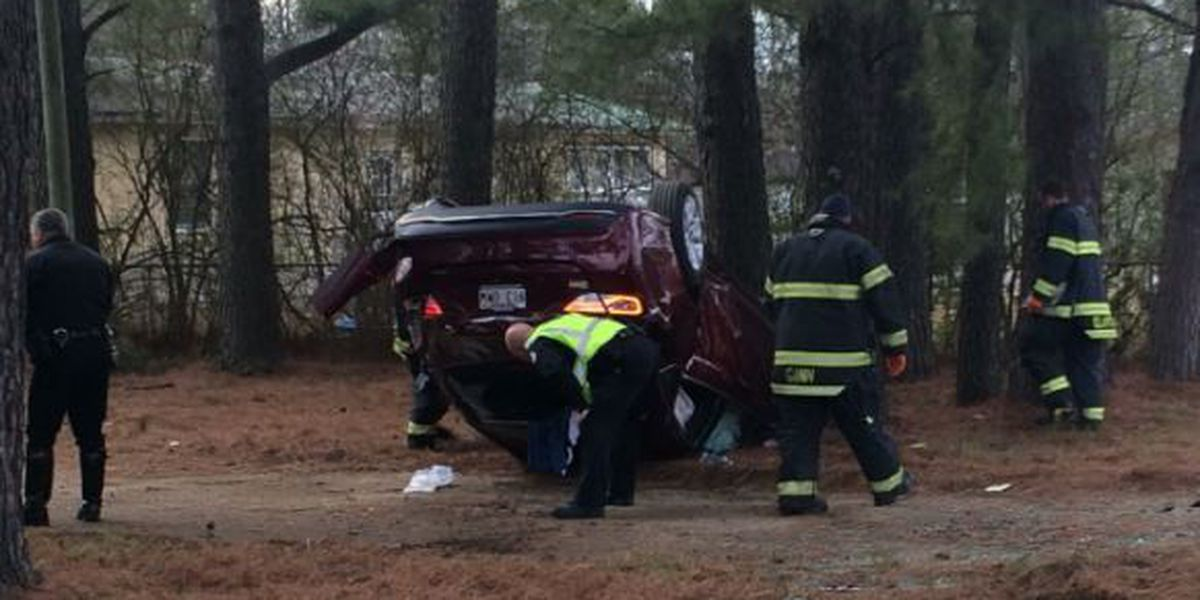 Man hospitalized after early morning rollover crash