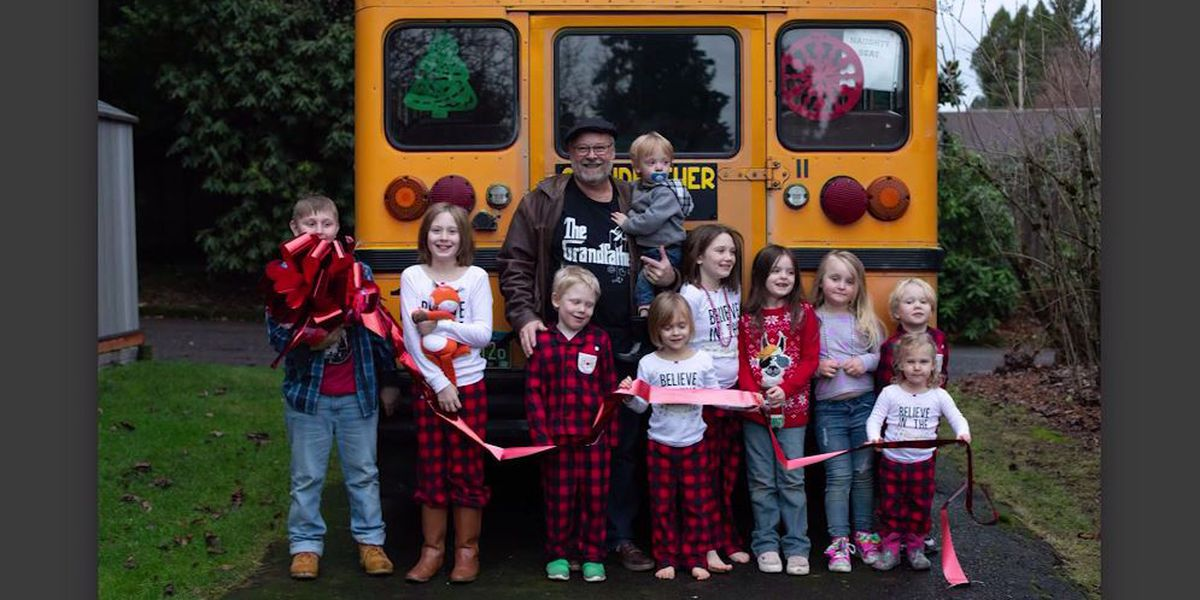 Grandfather buys school bus so he can take all 10 grandkids to school