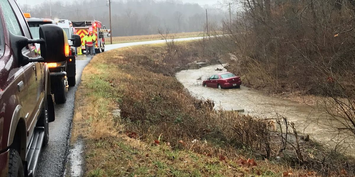 Driver rescued from car in creek