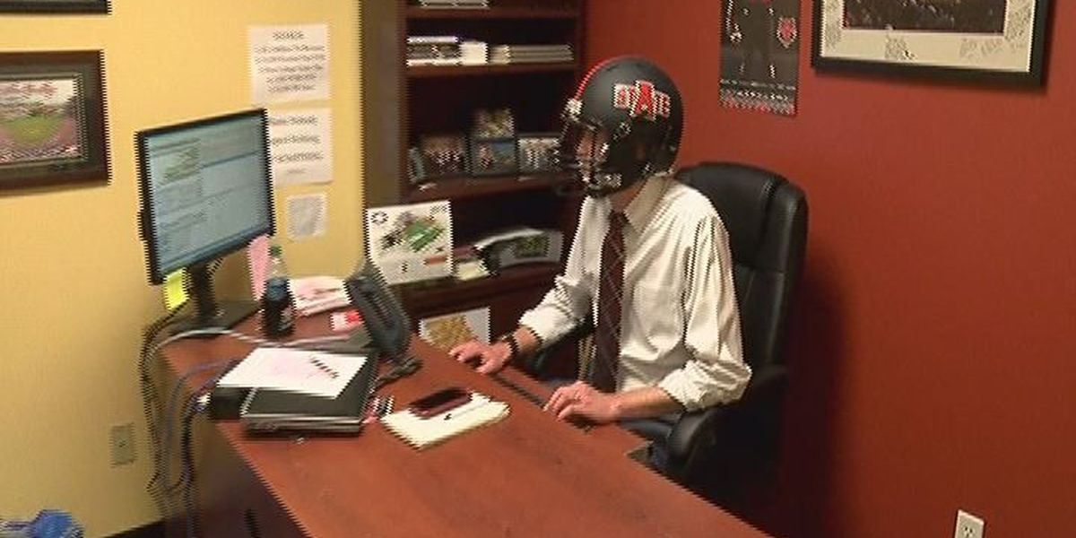 A-State Martin's wears helmet to promote ticket sales