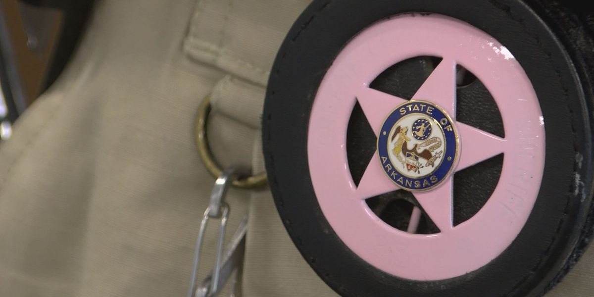 Greene County Sheriff wearing special badge for breast cancer awareness