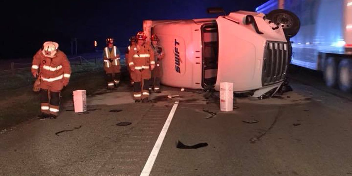 Semi-truck rolled over on Interstate-55