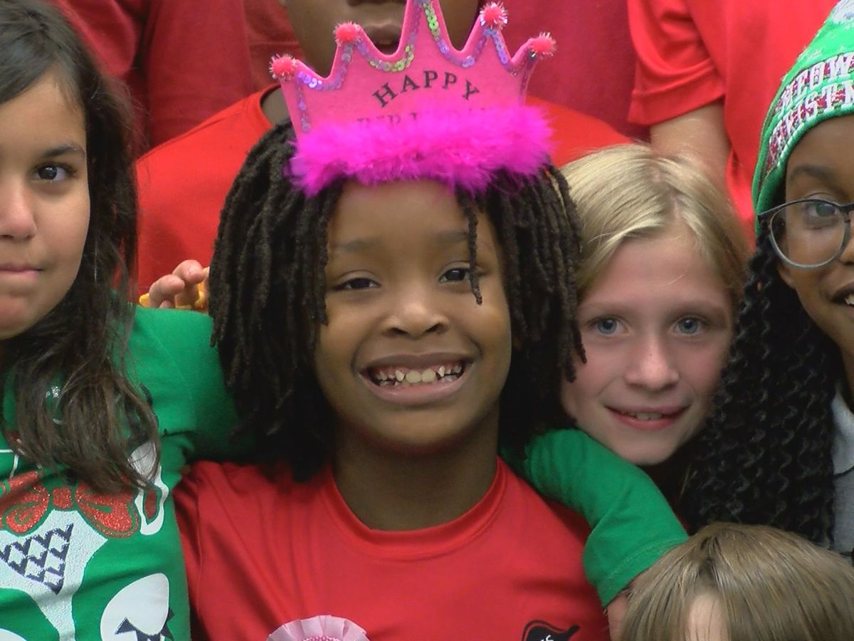 School hosts surprise birthday party for girl who lost home in fire
