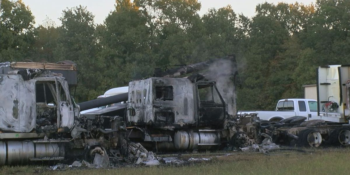 Trucks damaged in morning fire