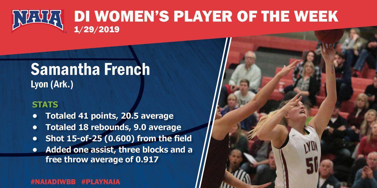 Lyon center Samantha French named NAIA Women's Basketball Player of the Week