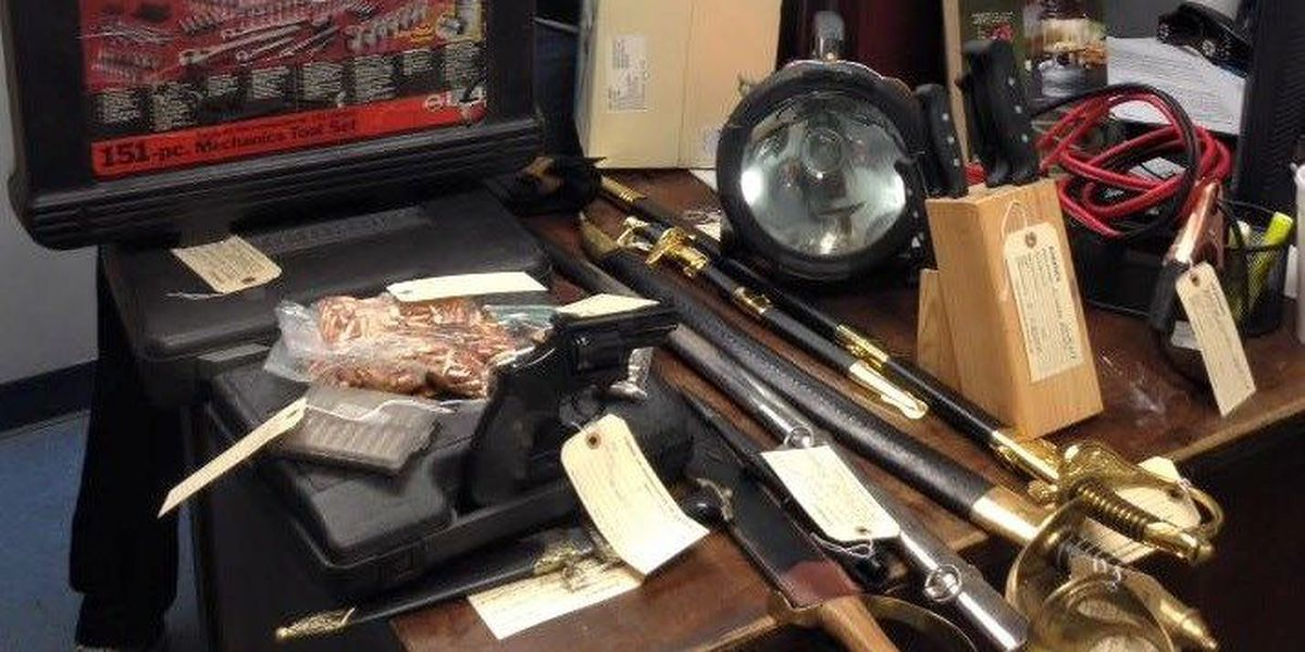 Gun, sword collection recovered during burglary investigation