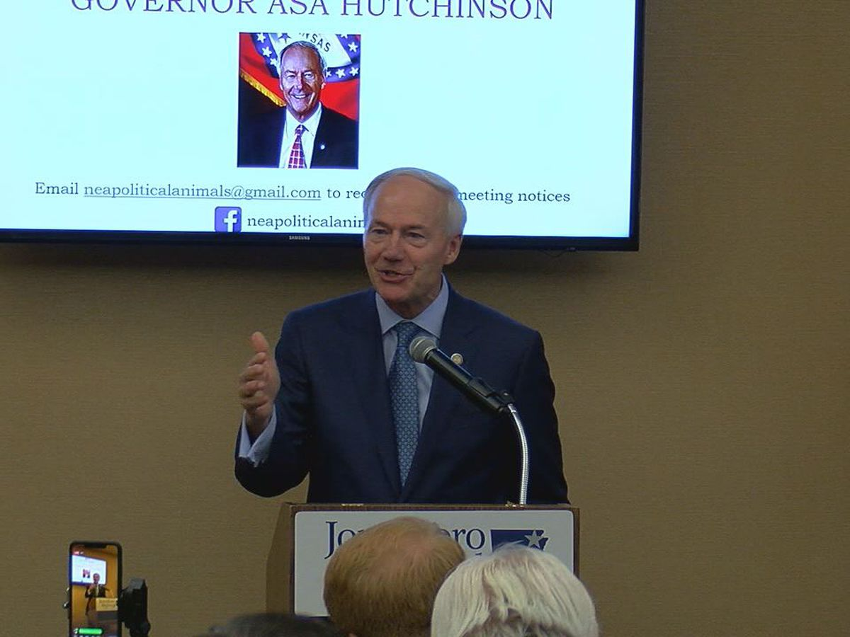 Arkansas governor visits Jonesboro, discusses tariffs, campaign ads