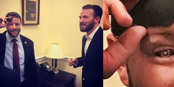 Congressman Dan Crenshaw shows off 'Captain America' glass eye to Captain America