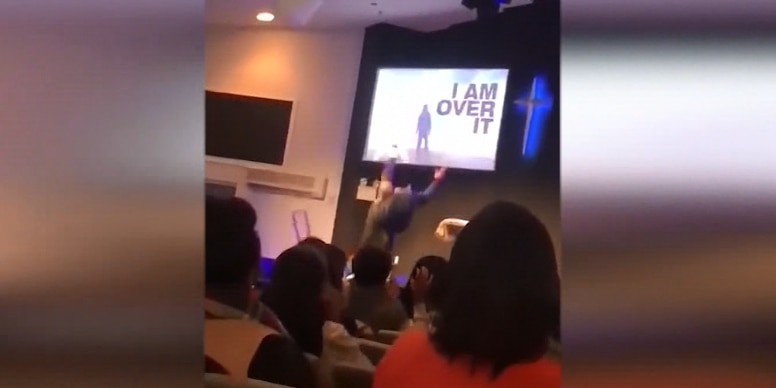Pastor tumbles on trampoline while trying to make analogy