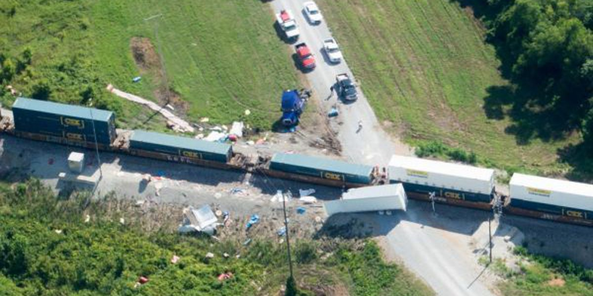Train crashes into 18-wheeler, no one hurt
