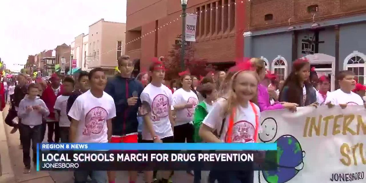 Students march down Main St. for drug prevention