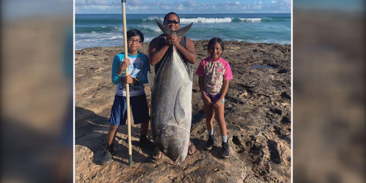 Hanapaa! Wahiawa man reels in a 106-pound ulua