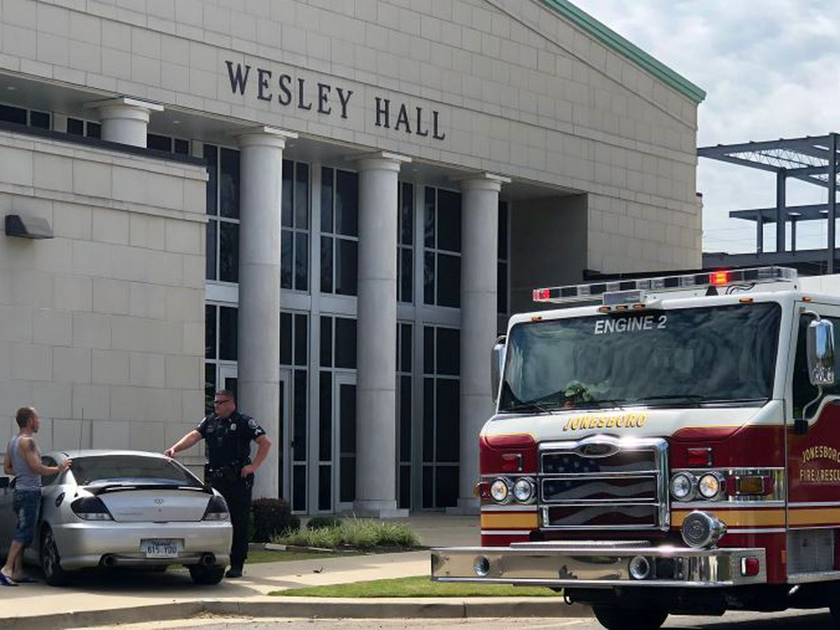 Vehicle strikes church, gas leak reported